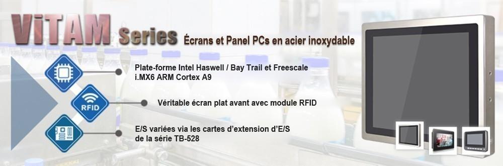 Écrans et Panel PCs en acier inoxydable SUS304/316 classé IP66/69K, et des connecteurs M12 pour assurer une connectivité hautement fiable dans les applications en environnement difficile.